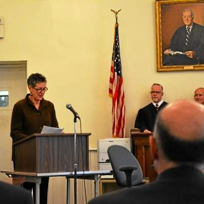 Barbara Spiegel was awarded the Liberty Bell Award on Friday in Litchfield.
