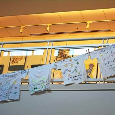 T-shirts promoting messages of support for sexual violence victims