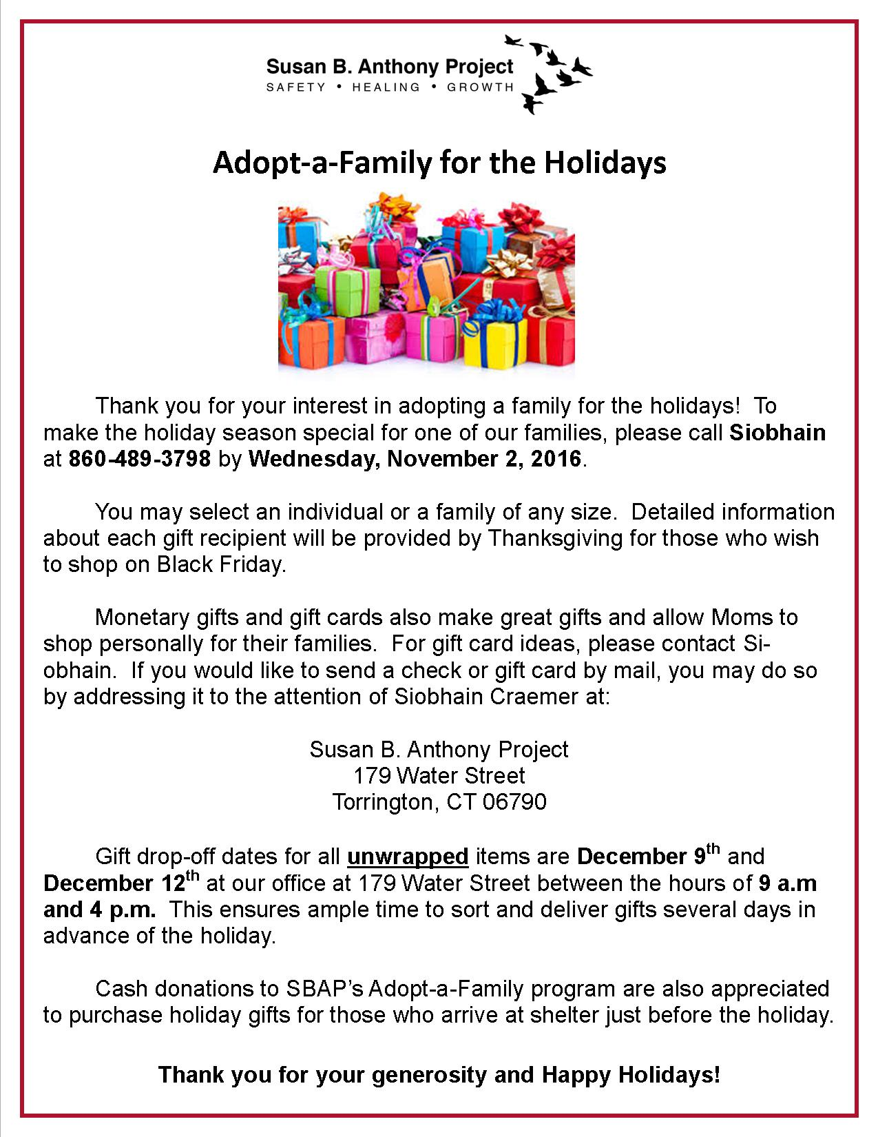 Adopt A Family For The Holidays Susan B Anthony Project